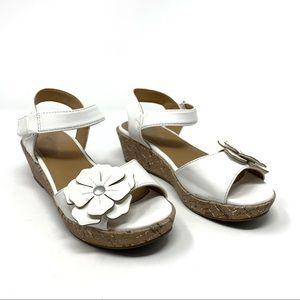 Nine West Girls White Flower Cork Platform Sandal